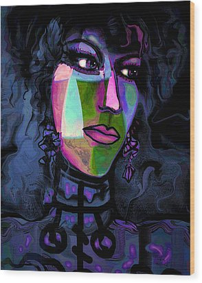 Blue Lady Wood Print by Natalie Holland