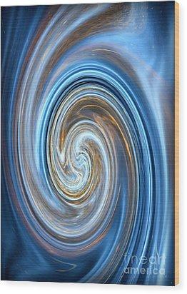 Blue Lagoon Swirls - Abstract Art Wood Print by Carol Groenen