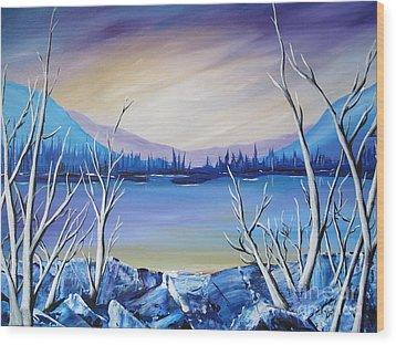 Blue Lake Wood Print by Beverly Livingstone