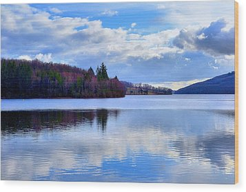 Blue Lake Wood Print by Dave Woodbridge