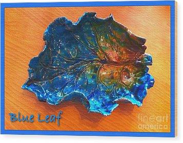 Blue Leaf Ceramic Design 3 Wood Print by Joan-Violet Stretch