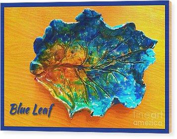 Blue Leaf Ceramic Design Wood Print by Joan-Violet Stretch