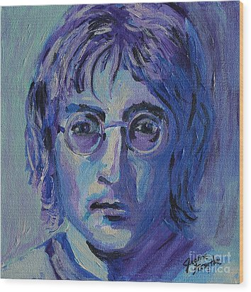 Wood Print featuring the painting Blue Lennon by Jeanne Forsythe