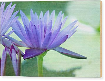 Blue Lily Wood Print by Margaret Hormann Bfa