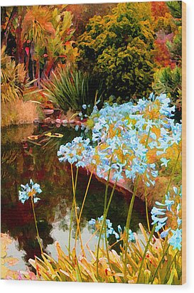 Blue Lily Water Garden Wood Print by Amy Vangsgard