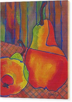 Blue Line Pears Wood Print by Blenda Studio