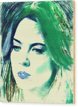 Blue Lips On Green Wood Print by Kim Prowse