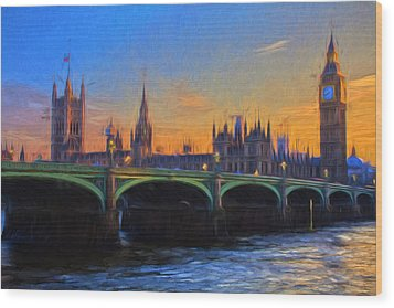 Wood Print featuring the painting Blue London by Douglas MooreZart