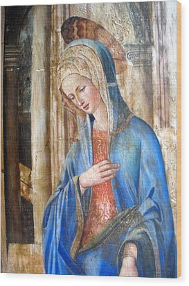 Blue Madonna Wood Print by Anonymous