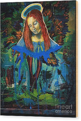 Blue Madonna In Tree Wood Print by Genevieve Esson