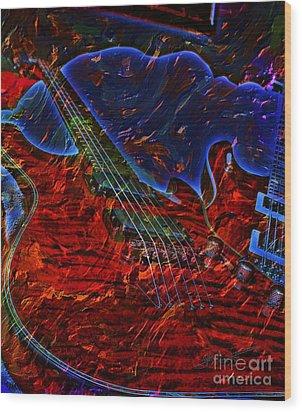 Blue Magic Digital Guitar Art By Steven Langston Wood Print by Steven Lebron Langston