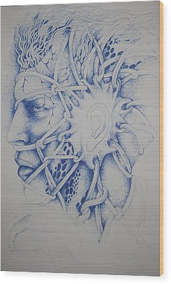 Blue Man Wood Print by Moshfegh Rakhsha