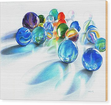 Blue Marble Reflections Wood Print