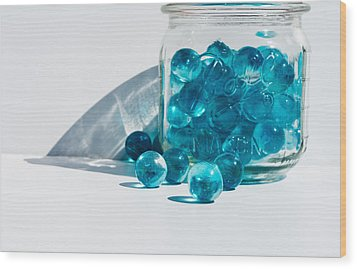 Wood Print featuring the photograph Blue Marbles by Mary Hone