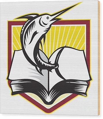 Blue Marlin Fish Jumping Book Retro Wood Print by Aloysius Patrimonio