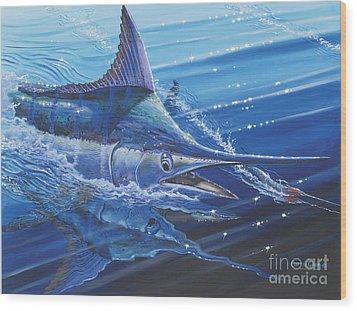 Blue Marlin Strike Off0053 Wood Print by Carey Chen