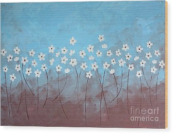 Blue Meadow Wood Print by Home Art
