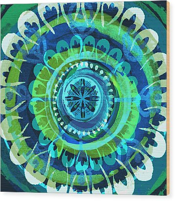 Blue Medallion 1 Wood Print by Lisa Noneman