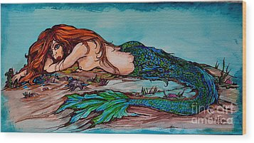 Blue Mermaid Wood Print by Valarie Pacheco