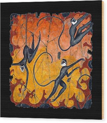 Blue Monkeys No. 9 Wood Print by Steve Bogdanoff