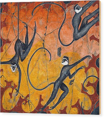 Blue Monkeys No. 9 - Study No. 4 Wood Print by Steve Bogdanoff