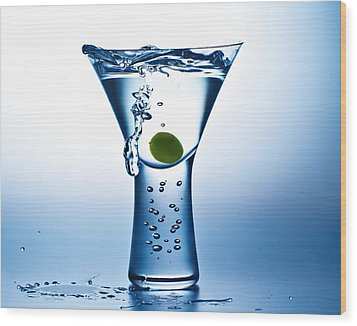 Blue Mood Martini Wood Print