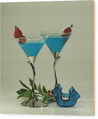 Blue Moon Curacao Cocktails For Two Wood Print by Inspired Nature Photography Fine Art Photography
