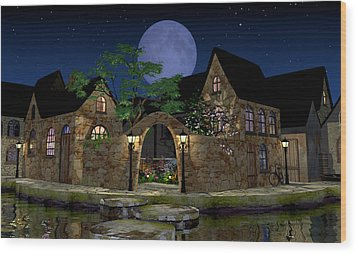 Blue Moon Wood Print by Cynthia Decker