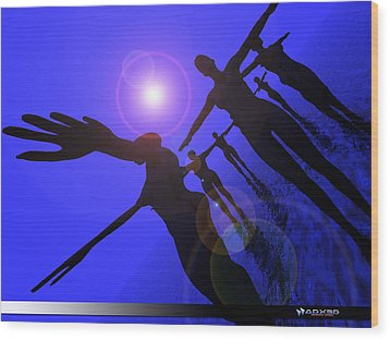 Blue Moon Dancers Wood Print