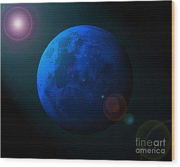 Blue Moon Digital Art Wood Print by Al Powell Photography USA
