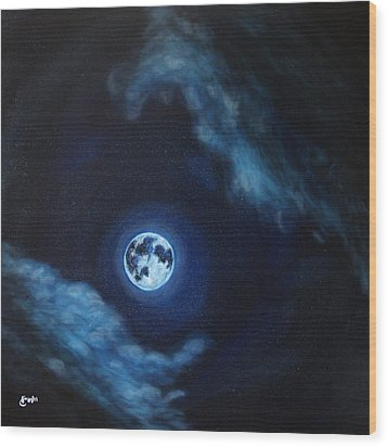 Blue Moon Wood Print by Felix Concepcion