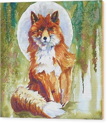 Blue Moon Fox Wood Print