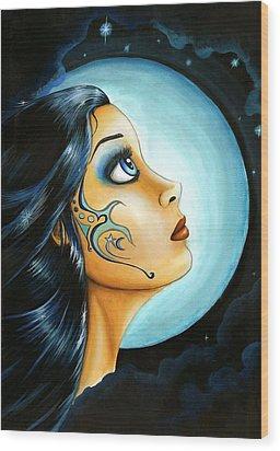 Blue Moon Goodess Wood Print by Elaina  Wagner