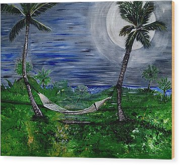 Blue Moon Hammock Wood Print