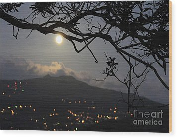 Blue Moon Over El Yunque Wood Print by The Art of Alice Terrill