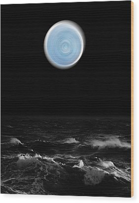 Blue Moon Over The Sea Wood Print
