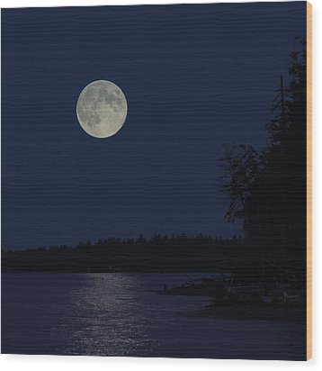 Blue Moon Wood Print by Randy Hall