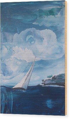 Blue Moon Sail Wood Print by Danita Cole