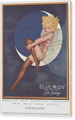 Blue Moon Silk Stockings 1920s Usa Wood Print by The Advertising Archives