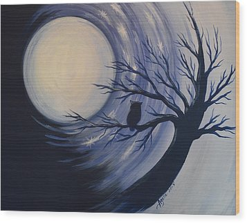 Blue Moon Vortex With Owl Wood Print by Agata Lindquist