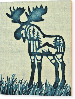 Blue Moose Wood Print