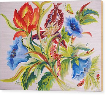 Wood Print featuring the painting Blue Morning Glories by Yolanda Rodriguez