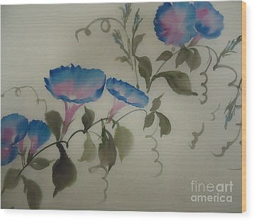 Blue Morning Glory Wood Print by Dongling Sun