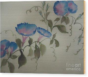 Blue Morning Glory Wood Print