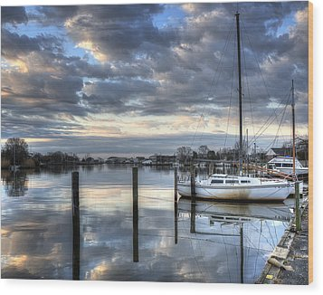 Blue Morning Reflections Wood Print by Vicki Jauron