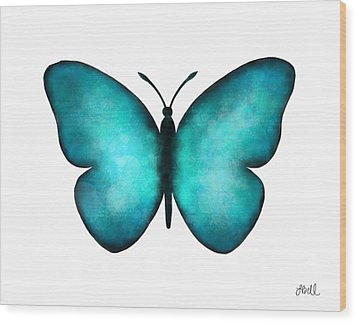 Wood Print featuring the painting Blue Morpho Butterfly by Laura Bell