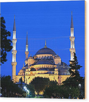 Blue Mosque At Dawn Wood Print by Stephen Stookey
