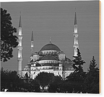 Blue Mosque In Black And White Wood Print by Stephen Stookey