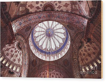 Blue Mosque Interior Wood Print by John Rizzuto