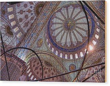 Blue Mosque Istanbul Wood Print by Nigel Fletcher-Jones